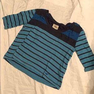 Hollister : Blue Striped 3/4 Sleeve Tee
